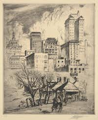 """Louis Oscar Griffith, """"The Old and the New,"""" 1926, etching. Part of the """"Texas in the Twenties"""" exhibit, March 4-July 1, 2012, at the Dallas Museum of Art."""