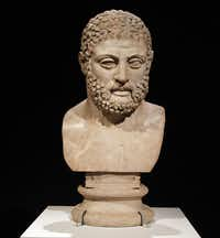The Dallas Museum of Art recently opened a show titled, The Body Beautiful in Ancient Greece in Dallas, Texas. A marble head from a statue of Herakles, Roman period, AD 117-118,from the villa of the Emperor Hadrian at Tivoli, Italy. Shot on Wednesday, May 8, 2013.