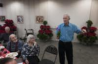 Jerry Brandenburg auctioned orchids at North Haven Gardens at the monthly meeting of the Greater North Texas Orchid Society.