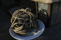 Hooked devil's claw seed pods are interwoven to form a tight sphere for easy storage, according to tradition in the native culture in and around Tucson.