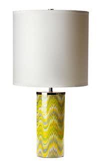 "Flame Stitch patterns for home trend feature, photographed August 16, 2012. Jonathan Adler ""Carnaby"" lamp in acid palm, $195."