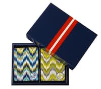 Flame Stitch patterns for home trend feature, photographed August 16, 2012. Decks of cards in laquer box, $78, Jonathan Adler.