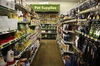 In addition to cats and dogs, products for horses, chickens, and other urban livestock are at Gecko Hardware in Northlake Shopping Center.