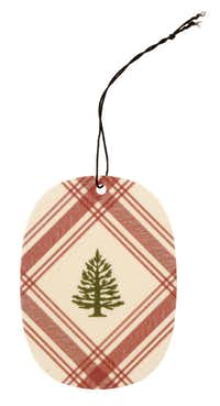 Garden gifts, photographed November 30, 2012. Thymes Frasier fir decorative sachet with just-cut fragrance of Siberian fir, cedar and sandalwood. Use to scent an artificial tree, closets and cars, or as a decorative finish to top a gift. $3.95 each at Nicholson-Hardie.