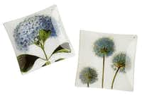 Decoupage glass floral trays by Ben's Garden, available at Gray Living, McKinney, $60 each