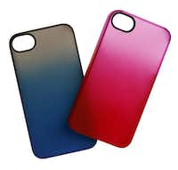 "Snap the two-tone trend on a cell phone with a Belkin ""Essential 063"" iPhone 4S gradient polycarbonate case. $34.95 each at the Apple store, Dallas."
