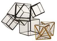 Cubed: Create a tabletop vignette instantly with the Cube, a large, black-finished copper and glass terrarium ($89) and the Faceted terrarium made of gold-plated copper and glass ($29). At West Elm in Dallas and westelm.com. If you love this look, also check out Etsy vendor boxwoodtree, whose handmade, faceted geometric works, including dodecahedrons, ship from Russia.
