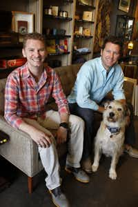 Curated, a new shop on McKinney Ave., photographed June 24, 2013. Owners, and brothers, Taber Wetz (left) and Bryan Wetz, and Beaux.