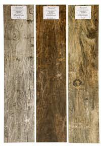 These faux-wood floor tiles are named  Dallas, Marfa and Luckenbach and cost $5.40 per square foot at Curated, Dallas.