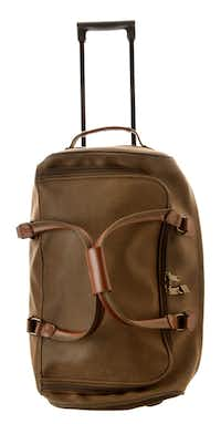 Dad will travel in style with his Bellemonde carry-on, 21-inch rolling duffel in so-called vegan leather industrial fabric. $89 at Bishop Street Market, Dallas.