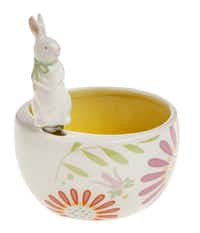 Blooming spring flowers adorn a 5-inch ceramic bowl with bunny spreader --  perfect for serving a favorite dip. $18.95 at La Foofaraw, Plano