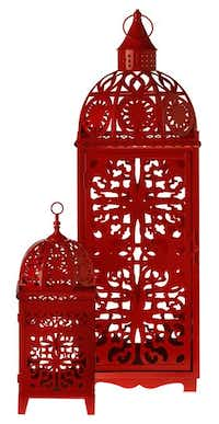 Color splash. Add a touch of Morocco with the playful bohemian metal lantern in punchy red. $129 for 35-inch model; $54.95 for 18-inch. Nicholson-Hardie Garden Center, Dallas.Photos by Evans Caglage - Staff Photographer