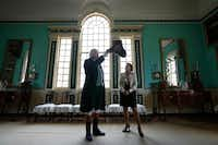 George Washington re-enactor Dean Malissa and Mount Vernon curator Susan Schoelwer attended the opening of Mount Vernon's New Room after its restoration.Win McNamee  -  Getty Images