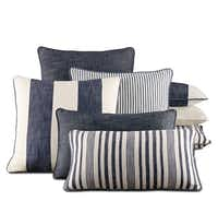 Yipes, stripes: Stripes of all sizes are available in a range of custom, all-weather outdoor pillows from Restoration Hardware. A perk: advertised as mildew- and fade-resistant, too. Shown: Perennials Portofino outdoor pillow collection in Fog, from $69 to $79 each, at Restoration Hardware, Dallas; the Shops at Willow Bend, Plano; and restorationhardware.com.Supplied  - SUPPLIED