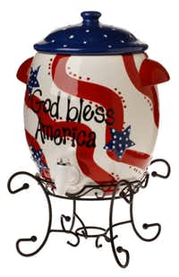 Serve it up: Keep beverages cold or hot with this two gallon, ceramic beverage dispenser, hand-painted with stars and stripes. Metal stand included. $104.95 at Swoozie's, Dallas or swoozies.com