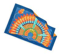 Possibly the best — and most practical — ways you could sport an intricately designed feather headdress poolside. Brazil beach towel in azure, $610, at Hermès, Highland Park Village and hermes.com.
