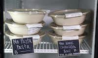 These are samples of chef prepared prepackaging entrees that are dairy free, gluten free, with no preservatives that are sold at Origin Natural Food in Dallas.