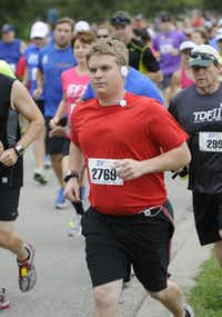 Atticus Miller begins the the 10k race of the Tour des Fleurs behind the Dallas Arboretum on Saturday, Sep. 15, 2012.