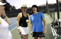 Marjorie Poche (right) found out she had Type 1 diabetes at 57 years old. She says she's lost weight and continues to play tennis, recently sharing a laugh with tennis partner Betty Schlackman (center) and Tammy Toll at Canyon Creek Country Club in Richardson.
