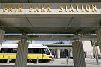 A DART train arrives at Fair Park Station. The task force emphasized that Fair Park should be turned over to a nonprofit group and provided with improved funding.Andy Jacobsohn  -  Staff Photographer
