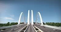 THIS IS AN ARTIST'S RENDERING -- NOT A PHOTO --  Four signature arches were part of the plan for the Margaret McDermott Bridge carrying I-30 over the Trinity River in downtown Dallas, as originally envisioned and designed by architect Santiago Calatrava. (CREDIT: Santiago Calatrava) 04162011xALDIASantiago Calatrava
