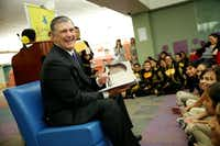 Mayor Mike Rawlings read 'I Want My Hat Back' by Jon Klassen to a group that included students from Kahn Elementary School.Andy Jacobsohn  -  Staff Photographer