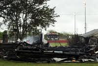 The remains of a burned building sit just south of the West ISD School stadium.Brad Loper - Staff Photographer
