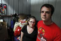 A storage unit at Granbury Baptist Church holds what Laura and Josiah Thompson could salvage Saturday from their home, which was damaged by a tornado Wednesday.