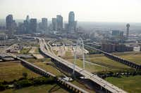 Aerial photograph of the Margaret Hunt Hill Bridge in Dallas.