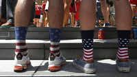 U.S. backers show their true colors at the watch party at Victory Plaza. Soccer is gaining traction in America after long being an also-ran sport.Lara Solt  -  Staff Photographer