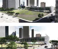 Artist's rendition of Pacific Park with an above ground parking option.