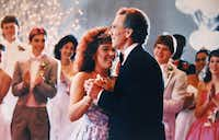 Gayla Vaughan and Roger Staubach shared a dance at a re-enactment of her prom as part of a United Way commercial telling Gayla's story.