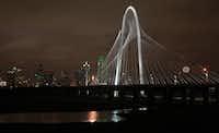 The new Calatrava bridge, named the Margaret Hunt Hill Bridge, after lighting ceremonies, in Dallas, Texas, on Tuesday, January 10, 2012. The Bridge crosses the Trinity River.