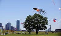 The Trinity River Wind Festival is a new event in Dallas, Texas to celebrate the beauty and spirit of the wide open spaces along the Trinity River in the heart of Dallas. The event sponsored kite flying, stunt kites, paddling kayaks, and hot air balloons. (Mona Reeder/The Dallas Morning News) 05152011xMETRO