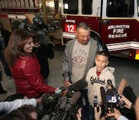 Koregan Quintanilla, with his father, Daniel Quintanilla, talked to reporters after meeting Arlington firefighter Wes Keck, who found him outside the station 10 years ago. Texas' Baby Moses law lets parents leave an infant less than 60 days old at a hospital or fire station without questions or punishment.