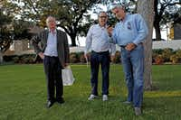 From left: Bob Wilson of Coral Springs, Fla., Sergio Romeiro of São Paulo, Brazil, and David Bolton of Orange County, Calif. visited  Dealey Plaza on Tuesday.