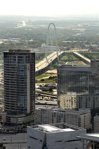 Overall view of The Margaret Hunt Hill Bridge from Museum Tower in Dallas, TX on October 23, 2012.