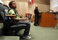 David Williams, 12, waits for his turn to speak at a Dallas City Council meeting, which he attends regulary.