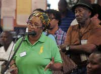 Olinka Green was among residents who lined up at Saturday's South Dallas town hall meeting at St. Luke Community United Methodist Church.