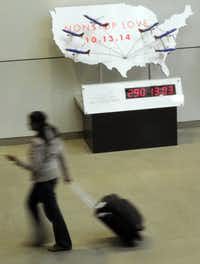 Southwest Airlines' digital clock counts down the days, hours and minutes until the Wright Amendment expires in 2014.