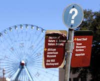 A peeling sign directs people to some of the attractions still open at Fair Park. Mayor Mike Rawlings has appointed a committee to advise him on how to maximize the value of Fair Park, and members are expected to deliver recommendations, which could include turning the park venue over to a private management company.Michael Ainsworth  -  Staff Photographer