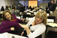 Peggy Price (right) and Janie Villarreal manage apartment complexes in Dallas and have dealt with hoarders.  They attended a workshop and training session in October.