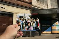 A print from a home movie taken shortly before John F. Kennedy was assassinated is shown in front of the same location today. The home movie was shot along the parade route  on Main Street, close to Neiman Marcus. The print is courtesy of George Jefferies and the Sixth Floor Museum.