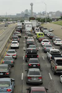 A familiar sight on northbound Interstate 35E nearing the mixmaster: long traffic backups.