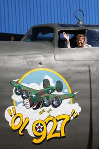 Betty Franzen, 89, sits in the cockpit of a B-24 bomber. Grandson John Jestis paid for the ride, which was on her bucket list. As a young woman, Betty did modifications to the B-24 bomber during WWII.
