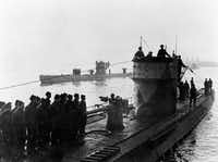 The Nazi submarine U-506, shown here at a U-boat base in France in 1942, was among the German boats that sank ships in the Gul of Mexico during World War II, according to a historian's reserach.
