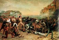 Robert Jenkins Onderdon -- The Fall of the Alamo or Crockett's Last Stand, 1903. Oil. The painting hangs in the governor's mansion in Austin, Texas. Courtesy of Friends of the Governor's Mansion.