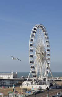 The Brighton Wheel, the seaside town's answer to the London Eye, offers visitors a 360-degree view of the English Channel, Brighton town center and the Sussex Downs.