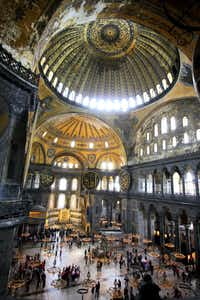 Kids will find it cool to walk up the dim stone ramp to get to the second floor of the Hagia Sophia to get a bird's-eye view of the former church sanctuary.