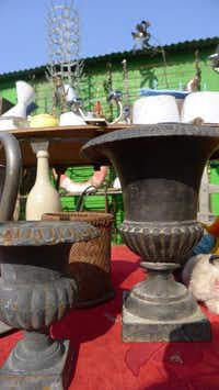 Foire de Chatou, Paris, France - Medici vases Trs shabby chic, made of steel and often with years of rust still intact, these vases come in all sizes but arenÕt always so easy to find Ð my theory is all of my friends come before me and them up first. Great in the garden, on a table with greenery or in the house as a vase with fresh flowers. Le prix: 60 to 80 euro.Ellise Pierce  -  Special Contributor